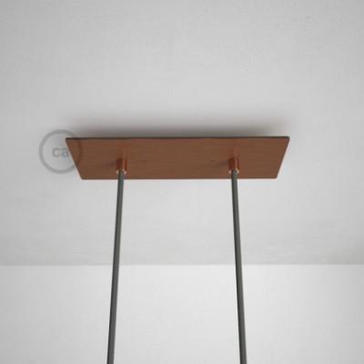 Rosetón XXL rectangular 30x12cm a 2 agujeros cobre satinado completo de accesorios