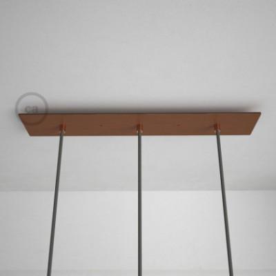 Rosetón XXL rectangular 60x12cm a 3 agujeros cobre satinado completo de accesorios