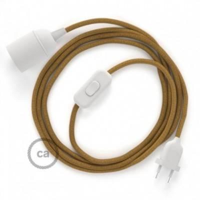 SnakeBis cableado con portalámpara cable textil Miel Dorado en Algodón RC31