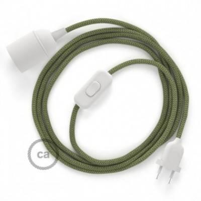 SnakeBis cableado con portalámpara cable textil ZigZag Verde Tomillo RD72