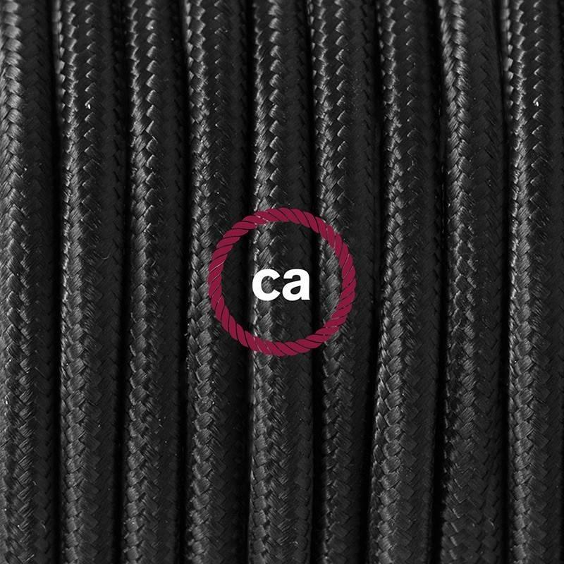 SnakeBis cableado con portalámpara cable textil Negro en tejido Efecto Seda RM04