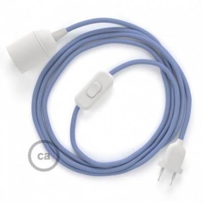 SnakeBis cableado con portalámpara cable textil Lila en tejido Efecto Seda RM07