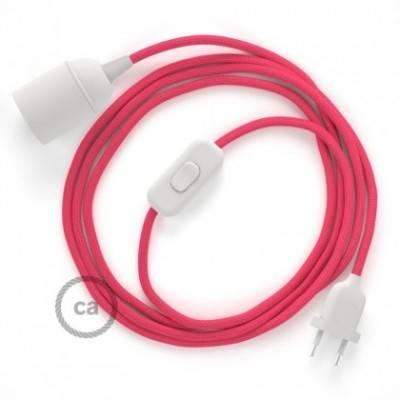 SnakeBis cableado con portalámpara cable textil Fuchsia en tejido Efecto Seda RM08