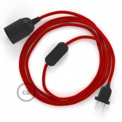 SnakeBis cableado con portalámpara cable textil Rojo en tejido Efecto Seda RM09