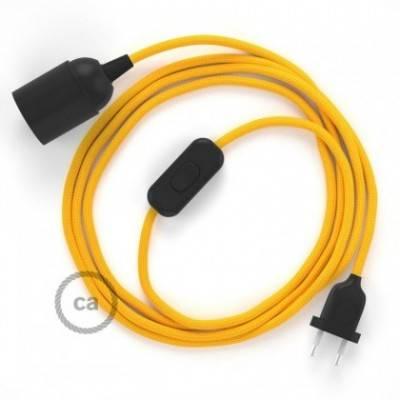 SnakeBis cableado con portalámpara cable textil Amarillo en tejido Efecto Seda RM10