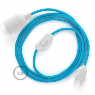 SnakeBis cableado con portalámpara cable textil Turquesa en tejido Efecto Seda RM11
