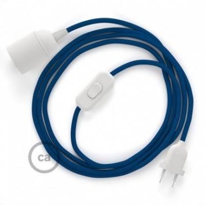 SnakeBis cableado con portalámpara cable textil Azul en tejido Efecto Seda RM12