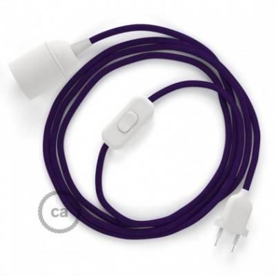 SnakeBis cableado con portalámpara cable textil Púrpura en tejido Efecto Seda RM14