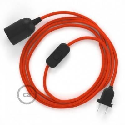 SnakeBis cableado con portalámpara cable textil Naranja en tejido Efecto Seda RM15