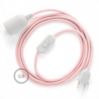 SnakeBis cableado con portalámpara cable textil Rosa Baby en tejido Efecto Seda RM16