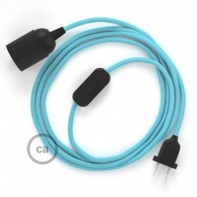 SnakeBis cableado con portalámpara cable textil Celeste en tejido Efecto Seda RM17