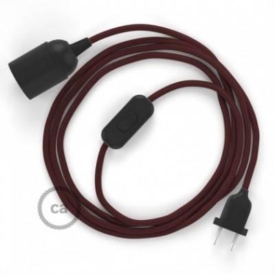 SnakeBis cableado con portalámpara cable textil Burdeos en tejido Efecto Seda RM19