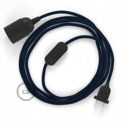 SnakeBis cableado con portalámpara cable textil Azul Marino en tejido Efecto Seda RM20