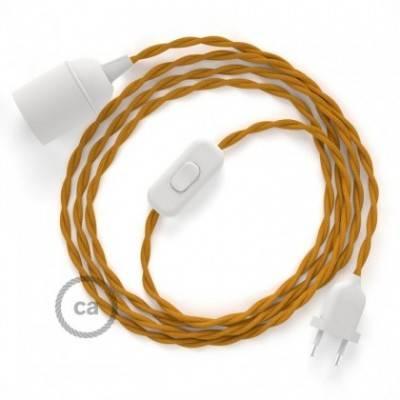 SnakeBis cableado con portalámpara cable textil Mostaza en tejido Efecto Seda TM25