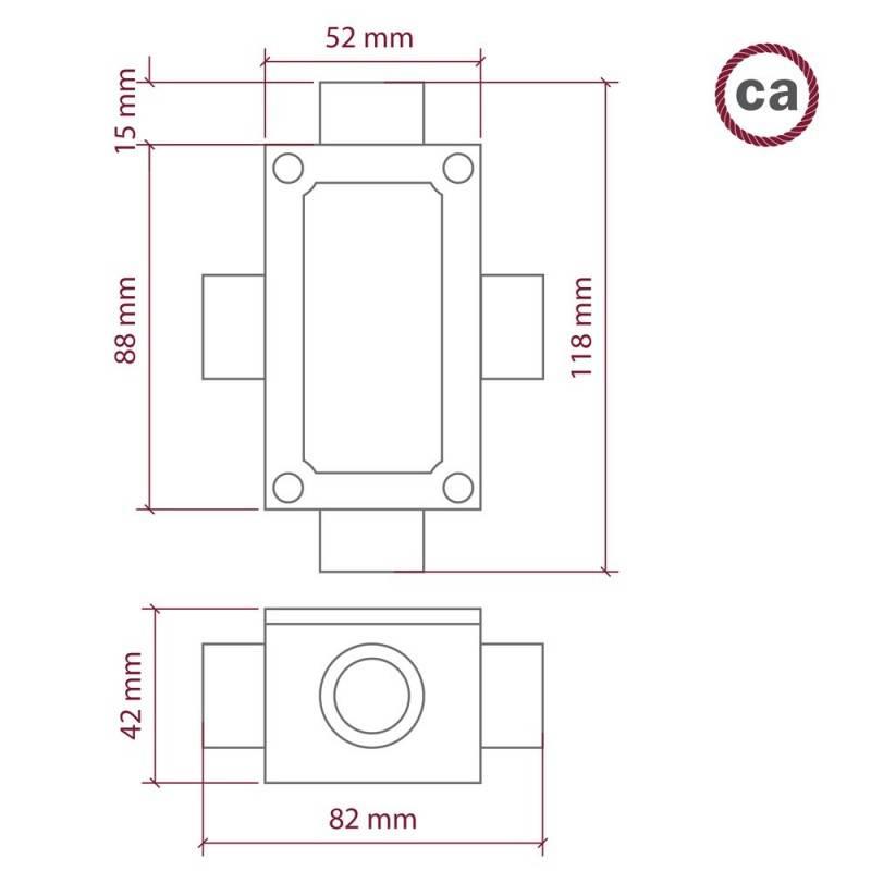 Caja de conexiones 4 salidas, forma de X, para Creative-Tube, caja de aluminio