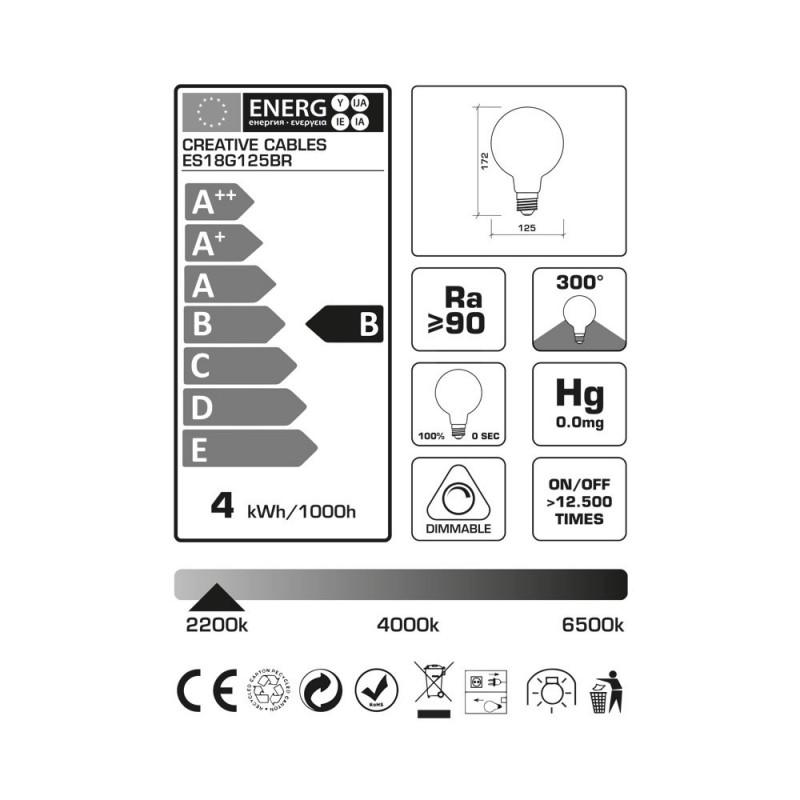 Bombilla LED Globo G125 Serie Pastel, Berry Red, filamento laminado 4W E27 Regulable 2200K