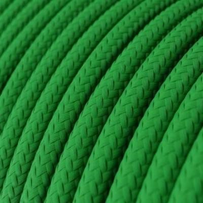 Cable Eléctrico Redondo Recubierto en tejido Efecto Seda Color Sólido, Verde RM06