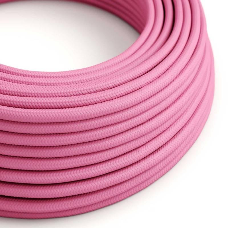 Cable Eléctrico Redondo Recubierto en tejido Efecto Seda Color Sólido, Fuchsia RM08