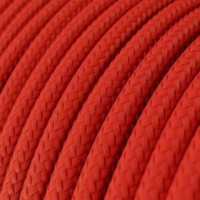 Cable Eléctrico Redondo Recubierto en tejido Efecto Seda Color Sólido, Rojo RM09