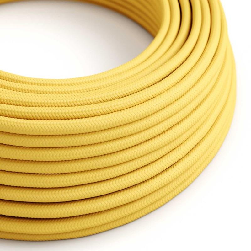 Cable Eléctrico Redondo Recubierto en tejido Efecto Seda Color Sólido, Amarillo RM10