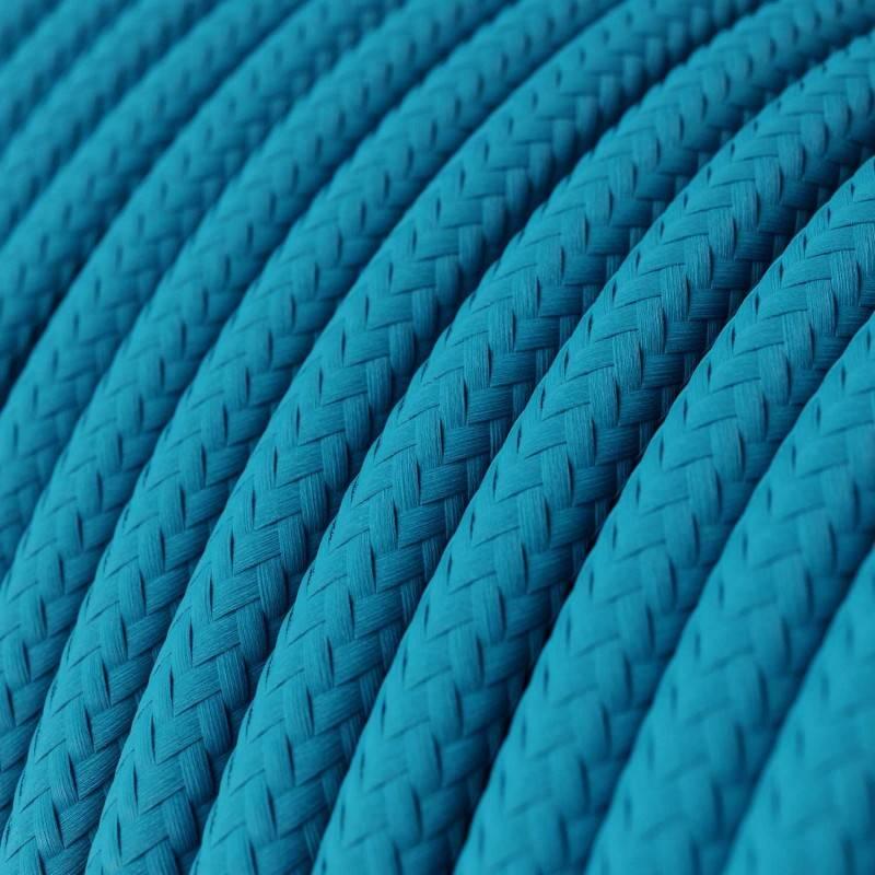 Cable Eléctrico Redondo Recubierto en tejido Efecto Seda Color Sólido, Turquesa RM11