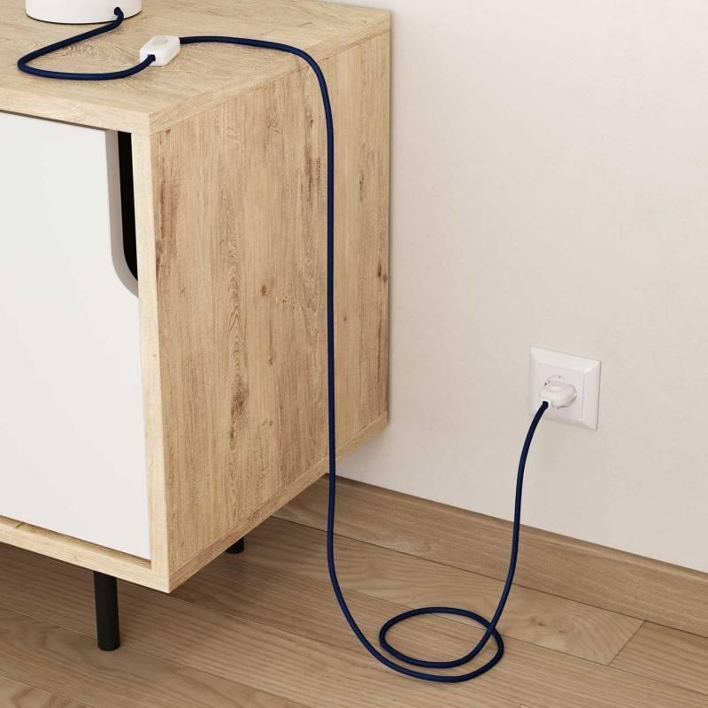 Cable Eléctrico Redondo Recubierto en tejido Efecto Seda Color Sólido, Azul RM12