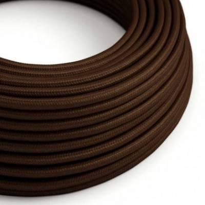 Cable Eléctrico Redondo Recubierto en tejido Efecto Seda Color Sólido, Marrón RM13