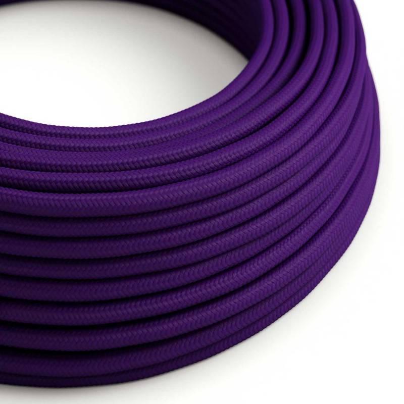 Cable Eléctrico Redondo Recubierto en tejido Efecto Seda Color Sólido, Púrpura RM14