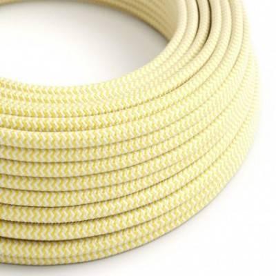 Cable Eléctrico Redondo Recubierto en tejido Efecto Seda ZigZag, Amarillo RZ10