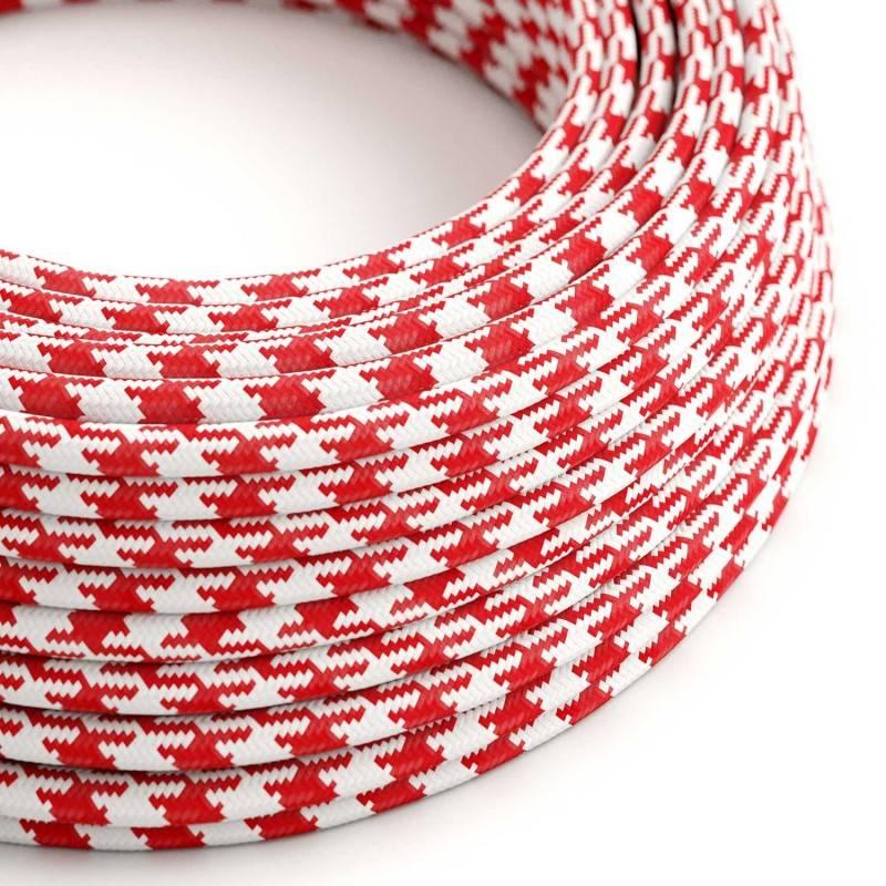 Cable Eléctrico Redondo Recubierto en tejido Efecto Seda Bicolor, Rojo RP09