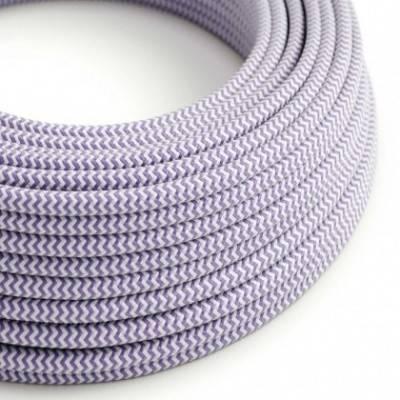 Cable Eléctrico Redondo Recubierto en tejido Efecto Seda ZigZag, Lila RZ07