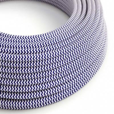 Cable Eléctrico Redondo Recubierto en tejido Efecto Seda ZigZag, Azul RZ12