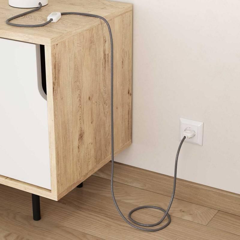 Cable Eléctrico Redondo Recubierto en tejido Efecto Seda ZigZag, Negro RZ04