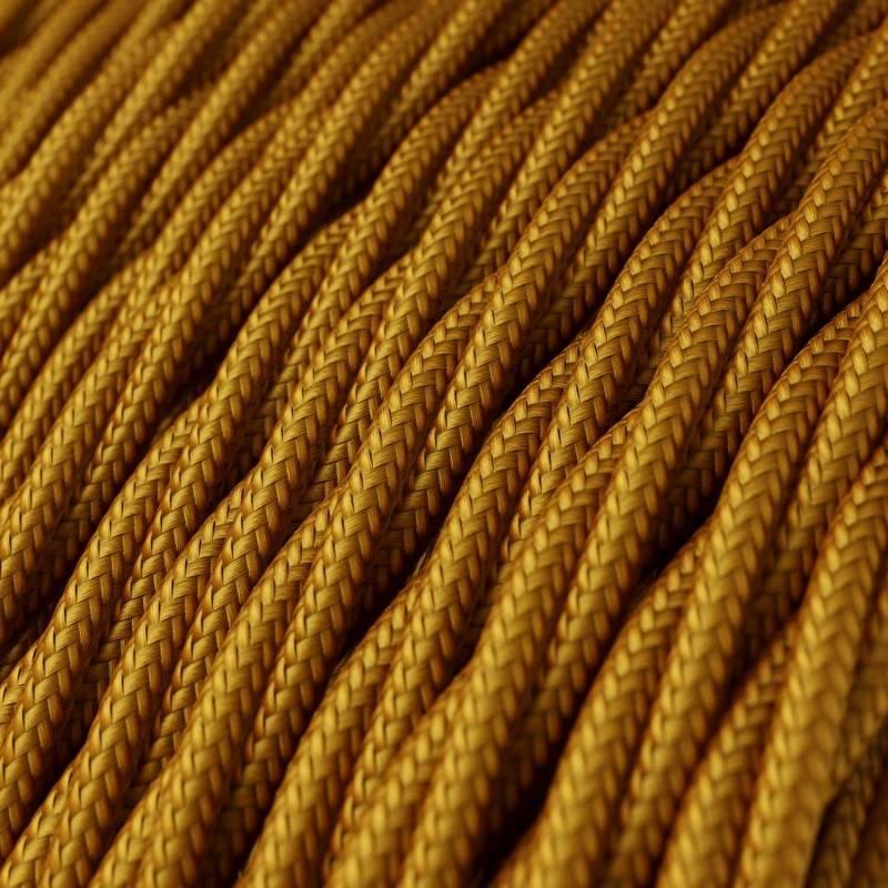 Cable Eléctrico Trenzado Recubierto en tejido Efecto Seda Color Sólido, Dorado TM05