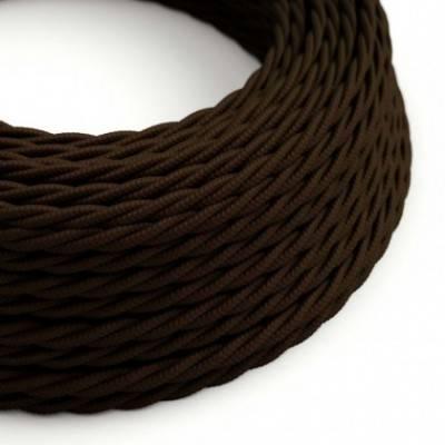 Cable Eléctrico Trenzado Recubierto en tejido Efecto Seda Color Sólido, Marrón TM13