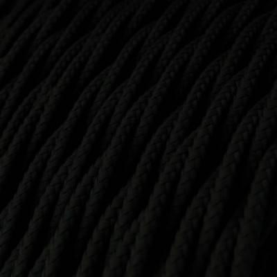 Cable Eléctrico Trenzado Recubierto en tejido Efecto Seda Color Sólido, Negro TM04