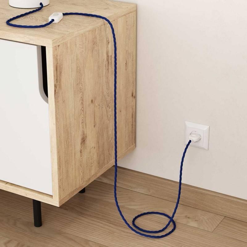 Cable Eléctrico Trenzado Recubierto en tejido Efecto Seda Color Sólido, Azul TM12