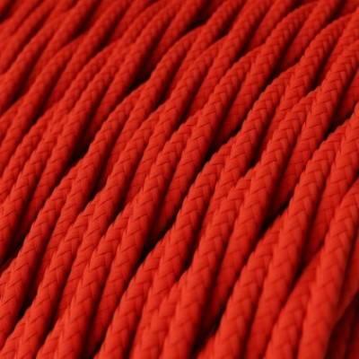 Cable Eléctrico Trenzado Recubierto en tejido Efecto Seda Color Sólido, Rojo TM09