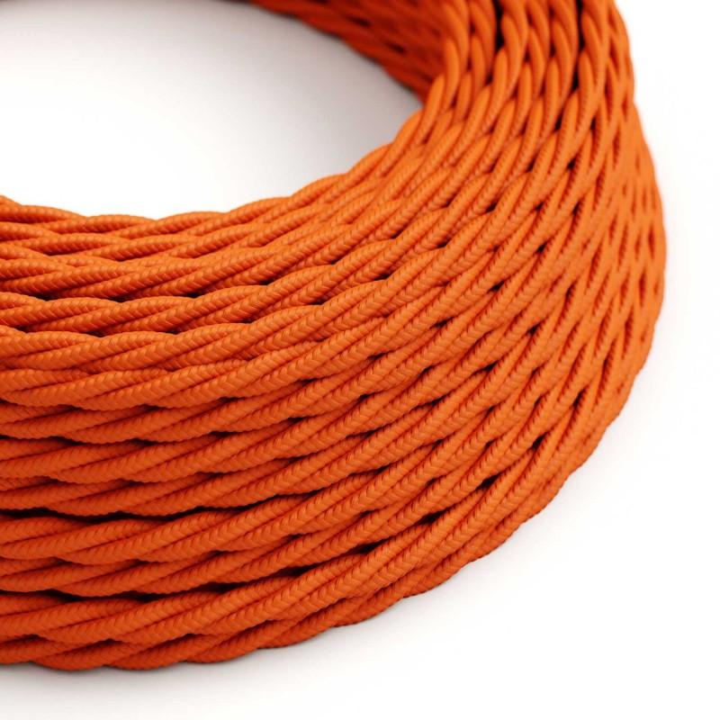 Cable Eléctrico Trenzado Recubierto en tejido Efecto Seda Color Sólido, Naranja TM15
