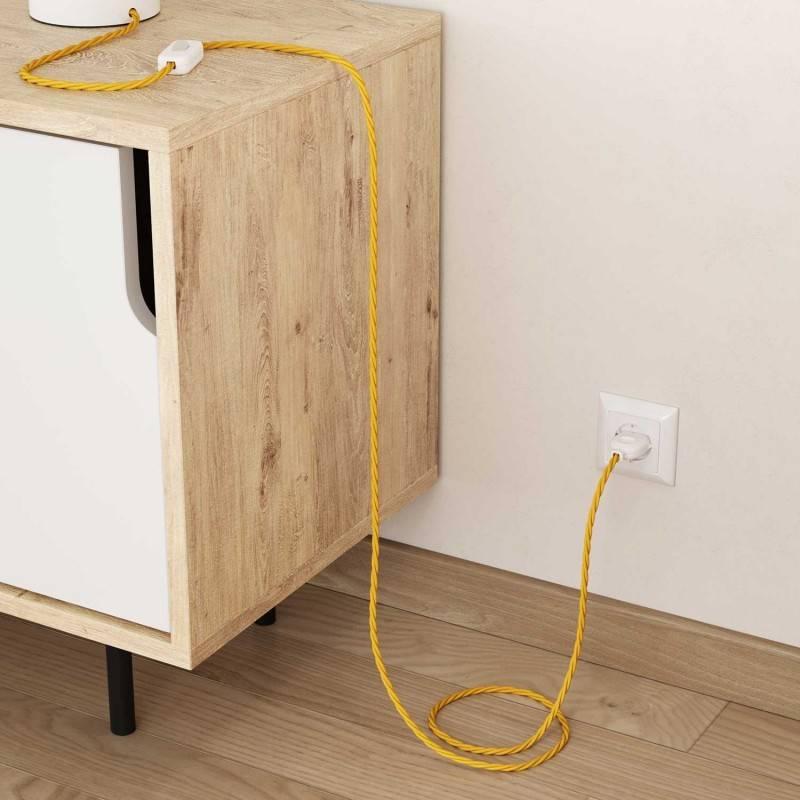 Cable Eléctrico Trenzado Recubierto en tejido Efecto Seda Color Sólido, Amarillo TM10