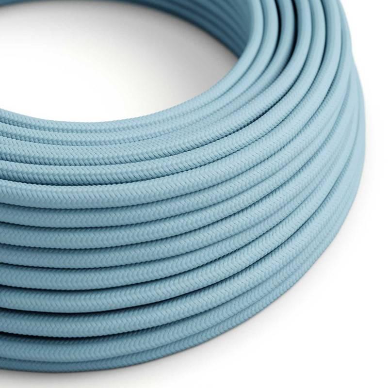 Cable Eléctrico Redondo Recubierto en tejido Efecto Seda Color Sólido, Celeste Baby RM17
