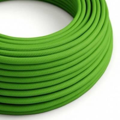 Cable Eléctrico Redondo Recubierto en tejido Efecto Seda Color Sólido, Verde Lima RM18