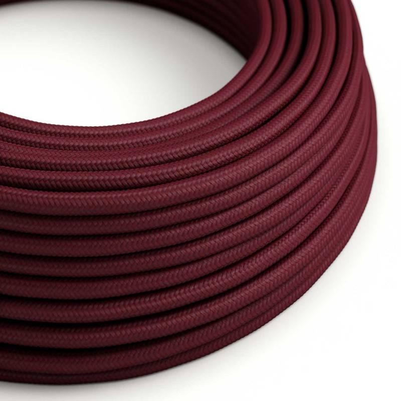 Cable Eléctrico Redondo Recubierto en tejido Efecto Seda Color Sólido, Bordeos RM19