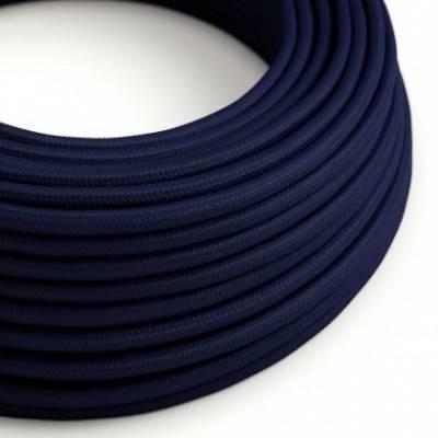 Cable Eléctrico Redondo Recubierto en tejido Efecto Seda Color Sólido, Azul Marino RM20