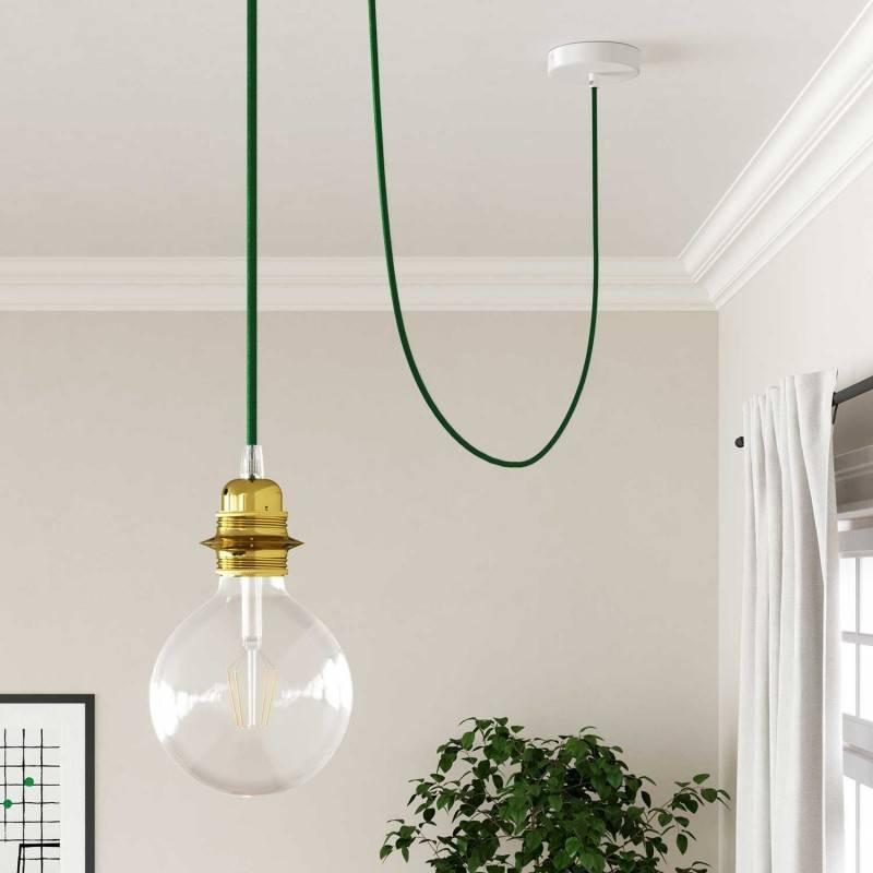Cable Eléctrico Redondo Recubierto en tejido Efecto Seda Color Sólido, Verde Oscuro RM21