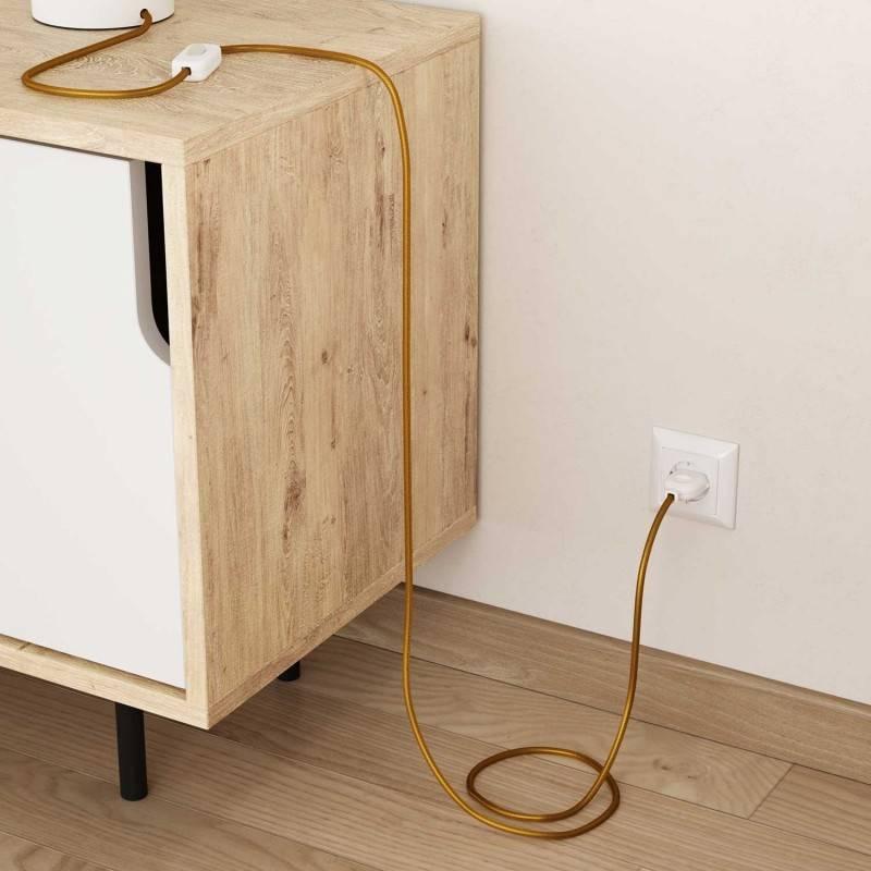 Cable Eléctrico Redondo Recubierto en tejido Efecto Seda Color Sólido, Dorado RM05