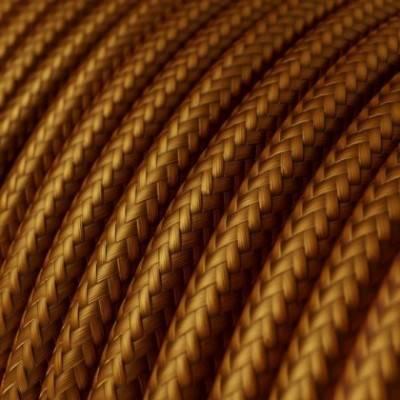 Cable Eléctrico Redondo Recubierto en tejido Efecto Seda Color Sólido, Whisky RM22