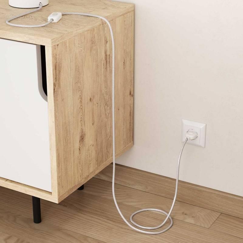 Cable Eléctrico Redondo Recubierto en tejido Efecto Seda Color Sólido, Blanco Glitter RL01