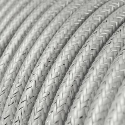 Cable Eléctrico Redondo Recubierto en tejido Efecto Seda Color Sólido, Plateado Glitter RL02