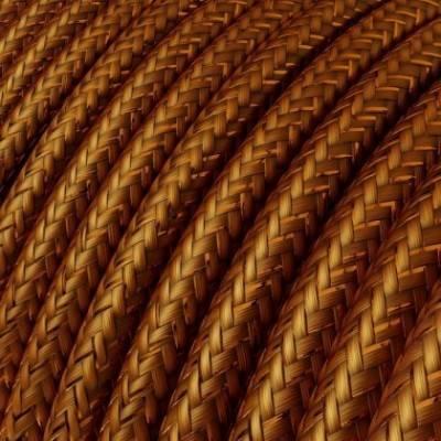 Cable Eléctrico Redondo Recubierto en tejido Efecto Seda Color Sólido, Cobre Glitter RL22